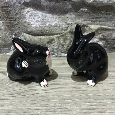 Black with White Bib Tiny Rabbit
