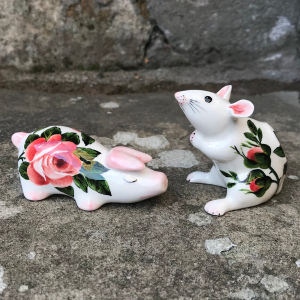 Cabbage Rose and Rosebud Mouse