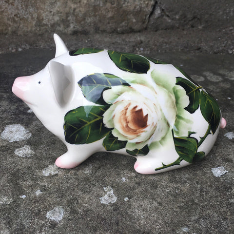 White Cabbage Rose Small Pig