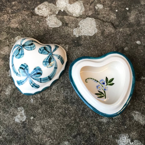 Tartan Forget Me Not Small Heart Trinket Box