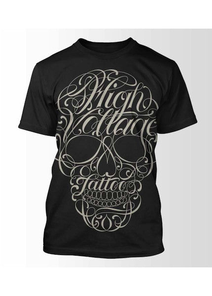 "HIGH VOLTAGE TATTOO ""Script Skull"" t-shirt Image"