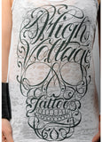 "HIGH VOLTAGE TATTOO ""Script Skull"" tank Image"