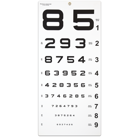 Distance Traditional Numbers 20 Ft. Chart