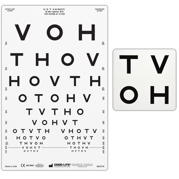 HOTV Pediatric Eye Chart for Illuminated Cabinet