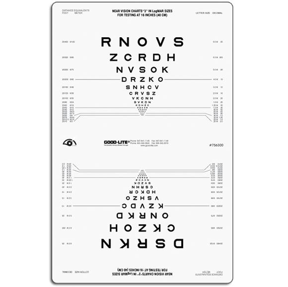 Sloan Letter Proportional Spaced Near Vision Chart