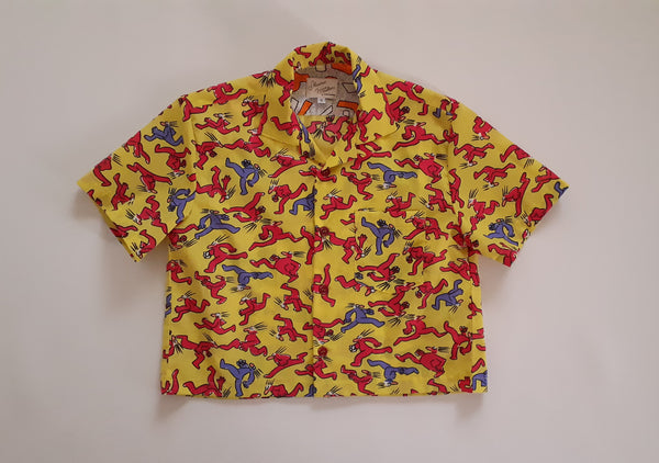 Cropped Shirt made from Vintage 80s Haring-esque Fabric