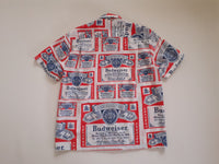 Shirt made with 1970s Budweiser Print Reclaimed Fabric