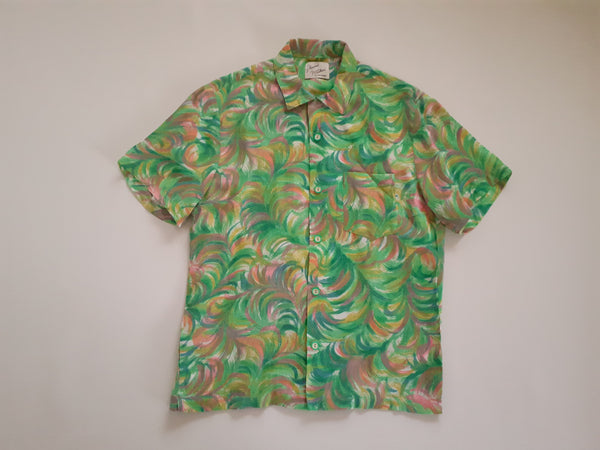 Shirt made from 1950s Rayon With Feather Brushstrokes Print in Green, Pink and Yellow