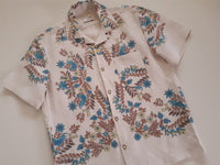 Shirt made from 1960s Linen with Birds and Pear Tree Print