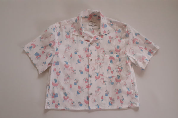 Cropped Shirt Made from 1950s Pixie Print Quilting Cotton