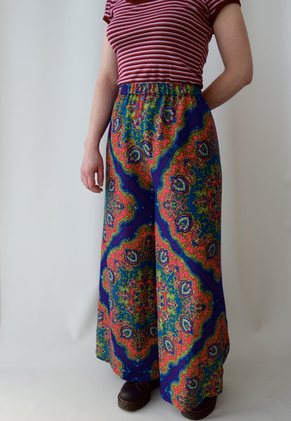 Purple Paisley Wide Leg Pants