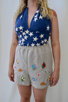 Blue and White Stars Vintage Cotton Fabric Halter Top. Size Large.