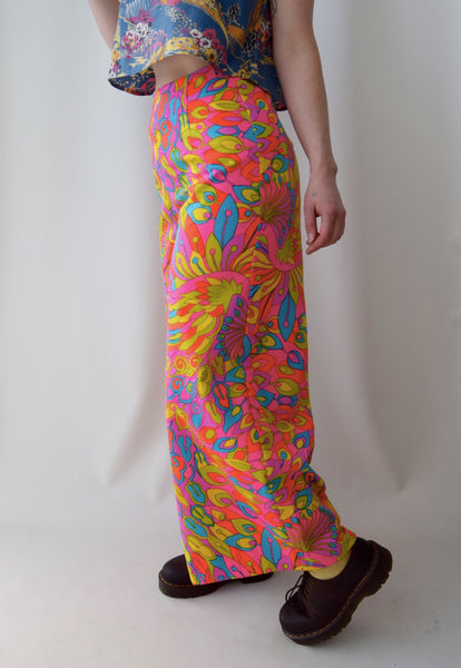 Dayglo Pink Peacock Wide Leg Pants