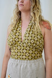 Yellow and Brown Mosaic Pattern Vintage 70s Cotton Print Halter Top. Size Large.