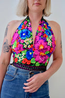 Tropical Multicolour Floral Print Vintage 1970s Polyester Fabric Halter Top. Size Medium.