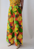 Tropical Floral Print Wide Leg Pants