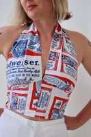 Halter Top Made from Vintage 1970s Budweiser Logo Fabric. Size Medium.