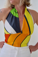 Halter Top Made from Vintage 1970s Op Art Print Cotton. Size Medium.