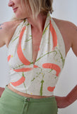 Halter Top made from Vintage 1990s Brushstroke Print Cotton. Size Medium.