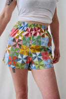 Simple High Waisted Summer Shorts Made from Vintage 1970s Quilt Print Cotton. Size Medium.