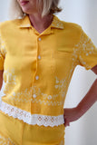 Matching Blouse and Shorts Set Made from 1950s Flocked Rayon with Lace Trim. Size Small