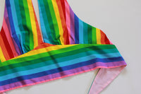Halter Top Made from Vibrant Rainbow Striped Cotton. Size XS - Small