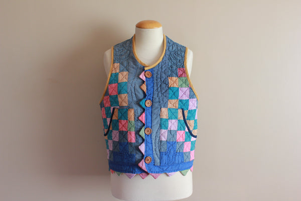 Quilt Vest Made from Vintage Irish Chain Quilt - Size Small