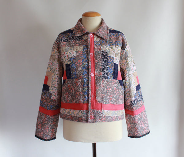 Log Cabin Cropped Quilt Jacket - Size Small