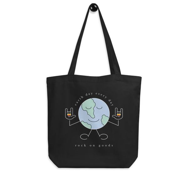 Earth Day Every Day Double Sided Organic Black Tote