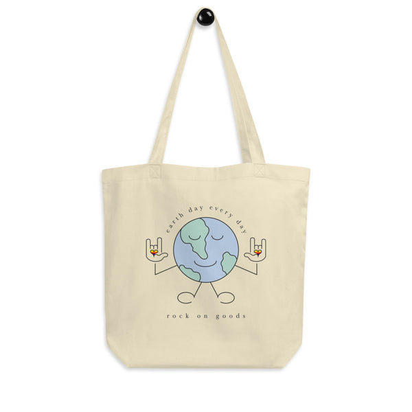 Earth Day Every Day Double Sided Organic Natural Tote