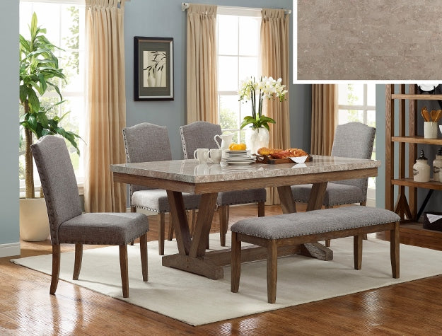 VESPER MARBLE RECT DINING GROUP SET 1211-6P - Best Discount