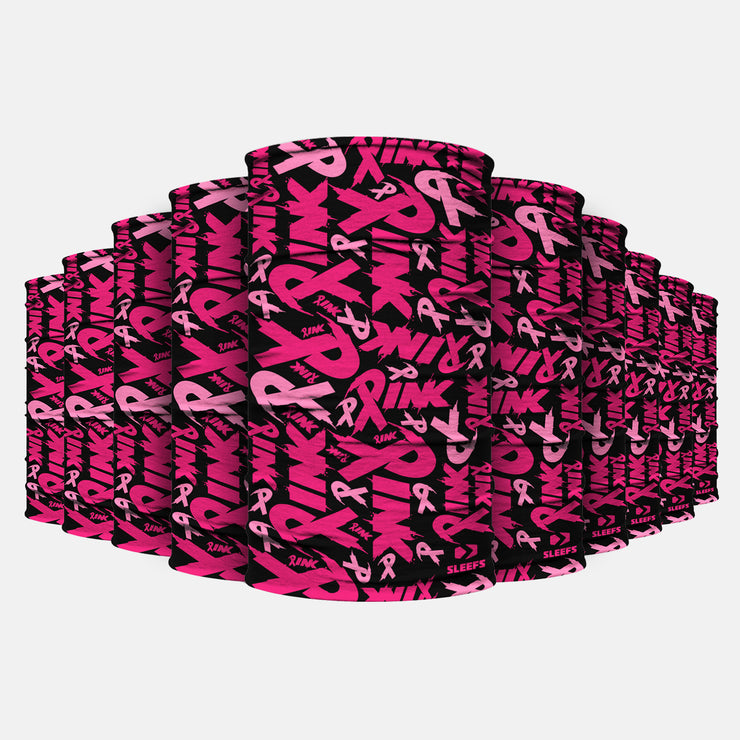 10 Pack Pink Ribbon Pattern Neck Gaiter
