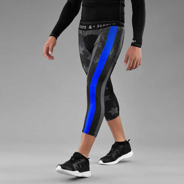 Tactical Thin Blue Line compression 3/4 tights / leggings