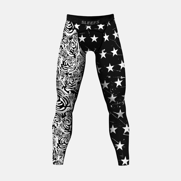 American Roses black and white compression tights / leggings