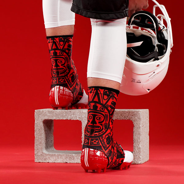 aeaaf21c5e50 Aztec Red Spats   Cleat Covers