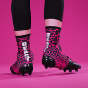 Beast Snake Skin Pink Black Spats / Cleat Covers