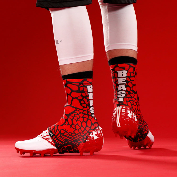 Beast Snake Skin Red Spats / Cleat Covers