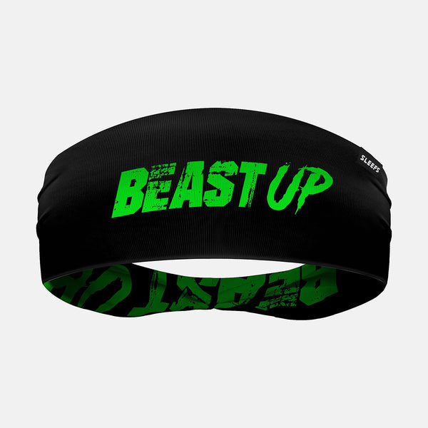 Beast Up Black Green Double Sided Headband