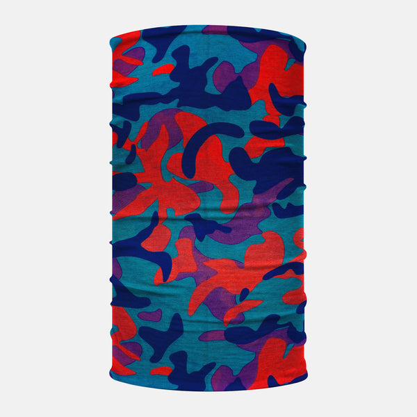 Blue Red Purple Camo Neck Gaiter