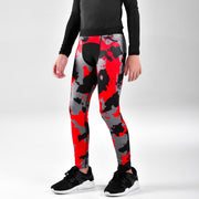Corrosive Gray Black Red Tights for Kids