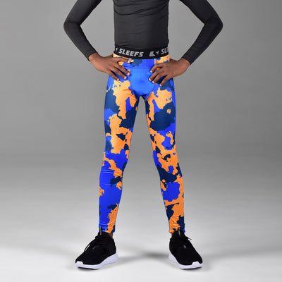Corrosive Blue Navy Yellow Tights for kids