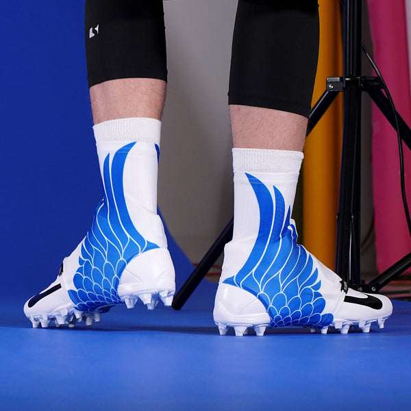 Icarus White Blue Spats / Cleat Covers