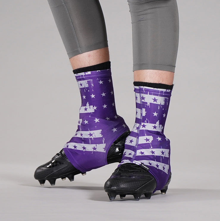 Disrupted USA Flag Purple Spats / Cleat Covers