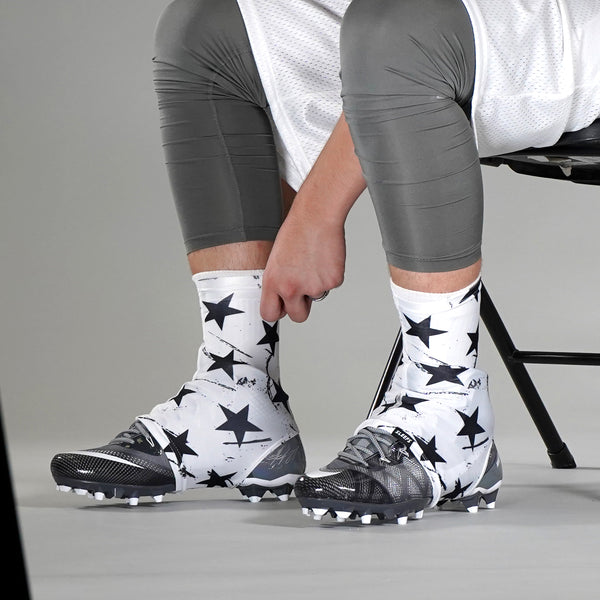 Stars White Black Spats / Cleat Covers