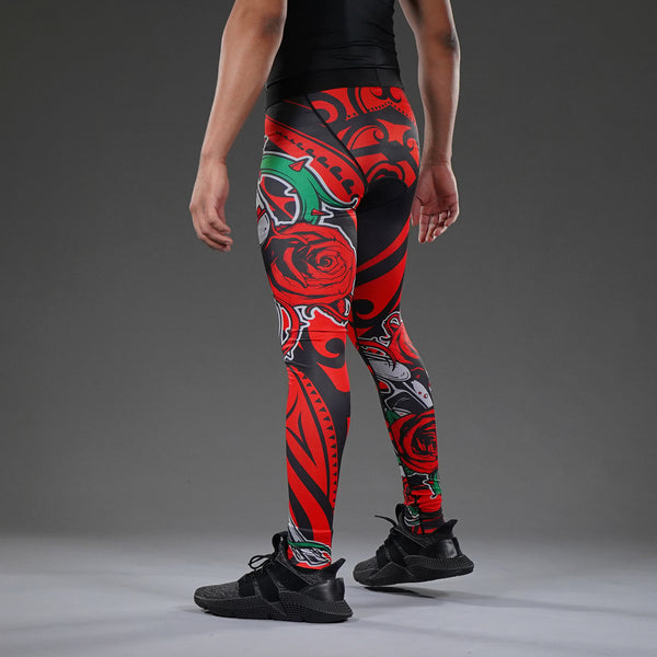 Bed of Roses Red Tights for men