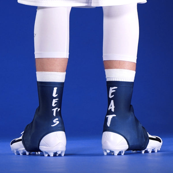 af809340236 Let s Eat Navy Spats   Cleat Covers
