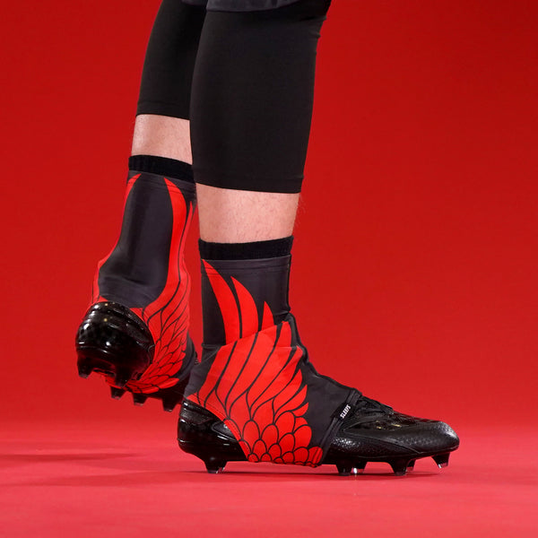 Icarus Black Red Spats / Cleat Covers