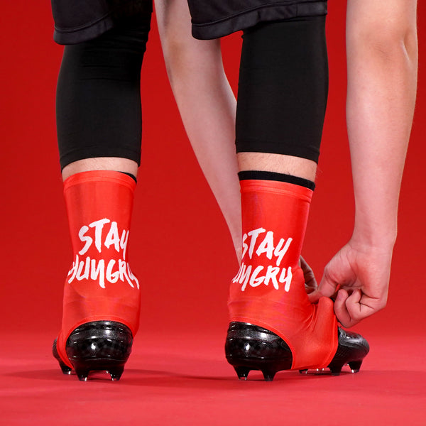 Stay Hungry Red Spats / Cleat Covers