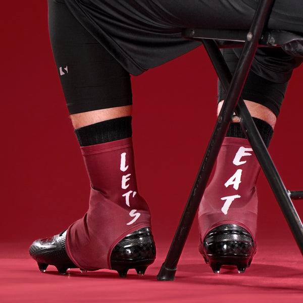 a7bf7a63777 Let s Eat Maroon Spats   Cleat Covers