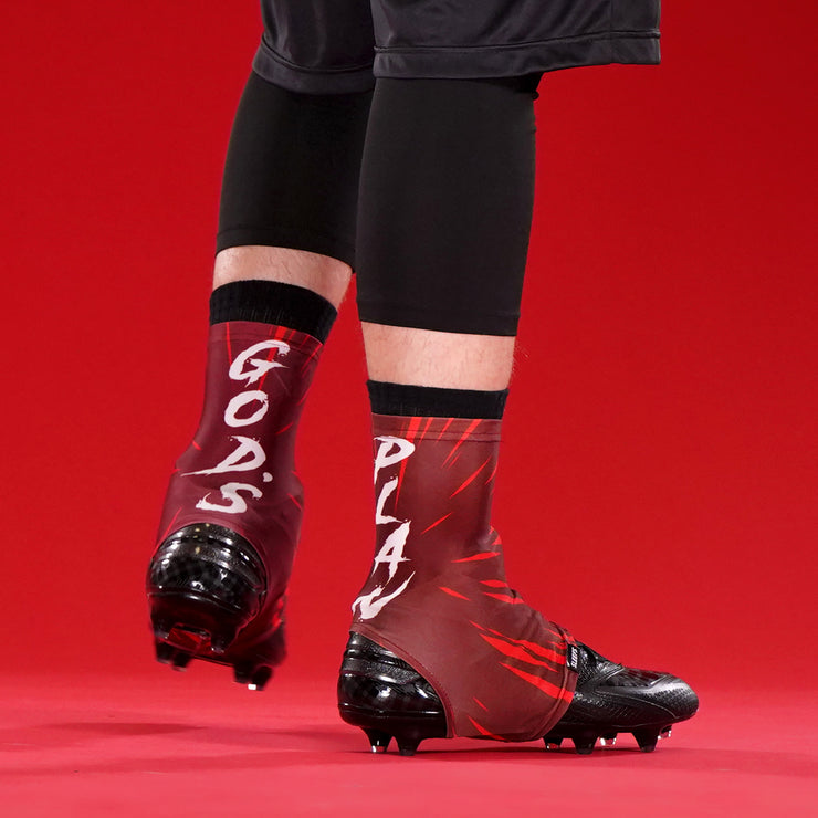 God's Plan Red Spats / Cleat Covers